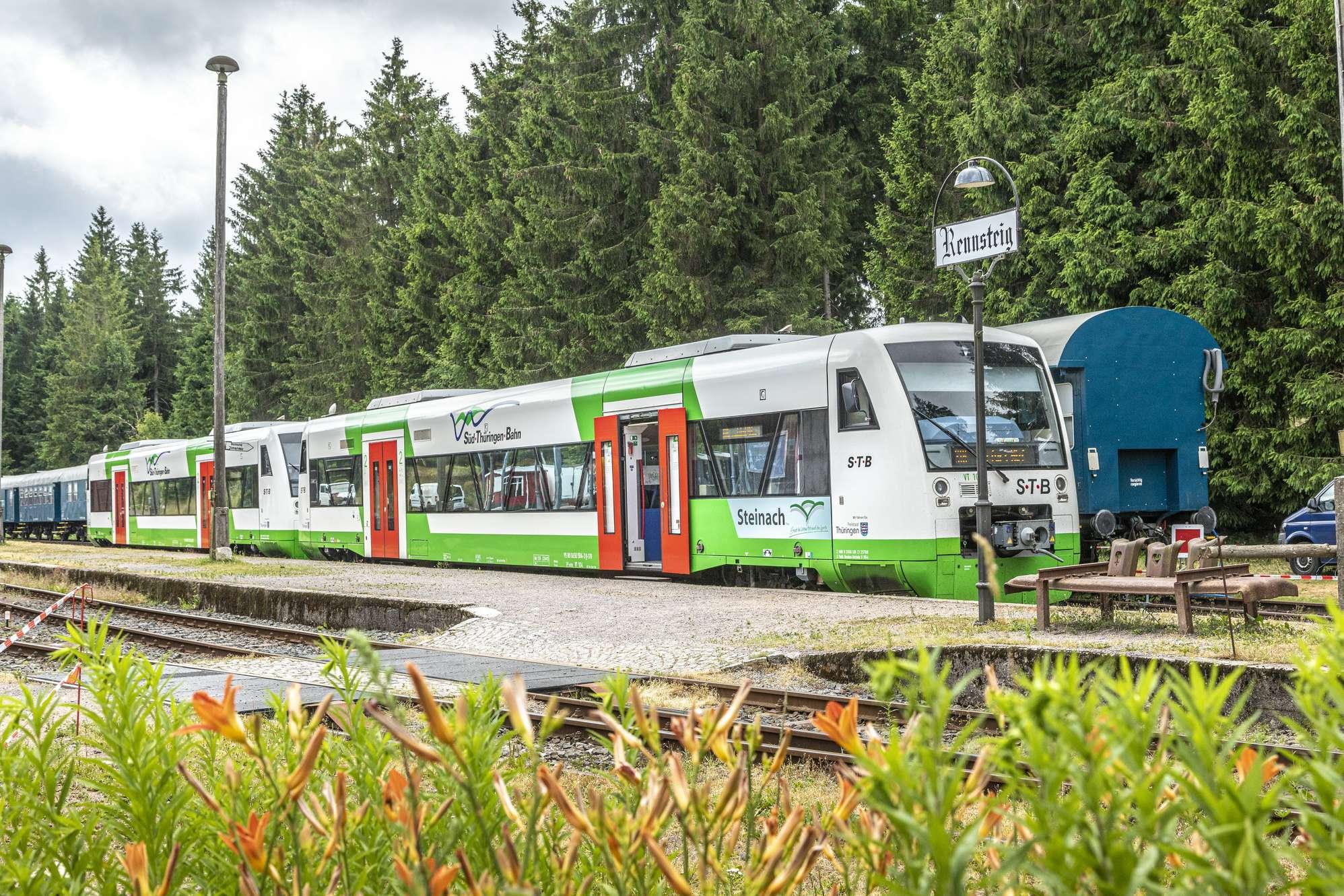 Es ist ein weißgrüner Zug im Bahnhof zusehen. Drumherum ist Fichtenwald.